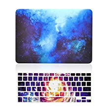 """Unik Case-2 in 1 13 Inch Galaxy Graphic Rubberized Hard Case & Silicone Skin for Macbook 13"""" Air A1369/A1466 Shell Cover-Blue"""