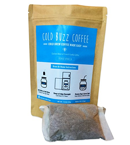 French Vanilla Cold Brew Iced Coffee (5-end) | Cold Buzz Coffee Bean Bag Packs
