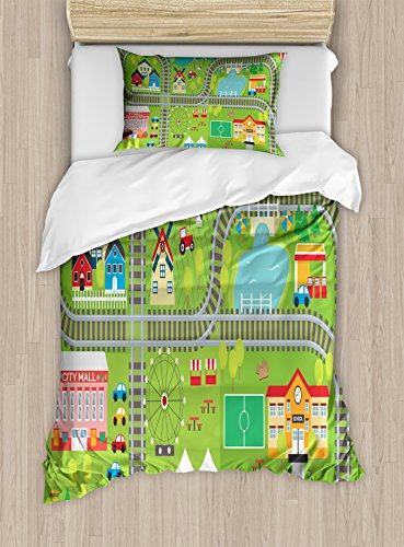 Kid's Activity Duvet Cover Set Twin Size by Ambesonne, Train Tracks with Colorful Town School City Mall and Amusement Park Fair, Decorative 2 Piece Bedding Set with 1 Pillow Sham, - Park City Mall