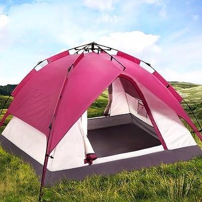 Zhudj Tente d'extérieur, 3–4personne automatique Tente de camping, double 2Suit, Prune Rouge