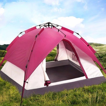 ZHUDJ Zelt Outdoor, 3-4 Personen Automatische Camping, Doppel 2 Zelt, Pflaume Rot