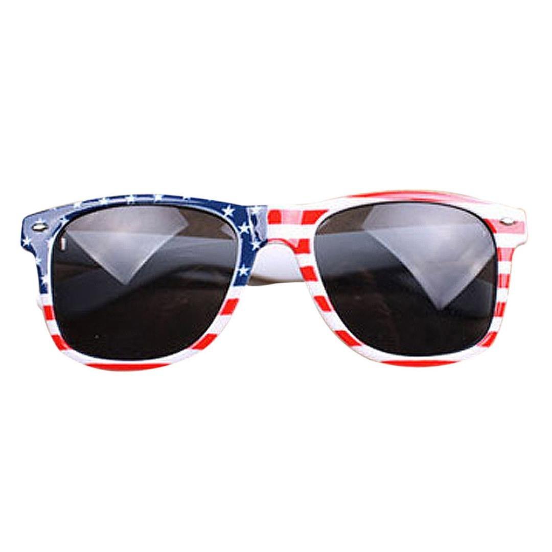 Sumen Unisex Sunglasses Plastic Frame Glasses Vintage Square New Style Sunglasses American Flag (A-USA Flag)