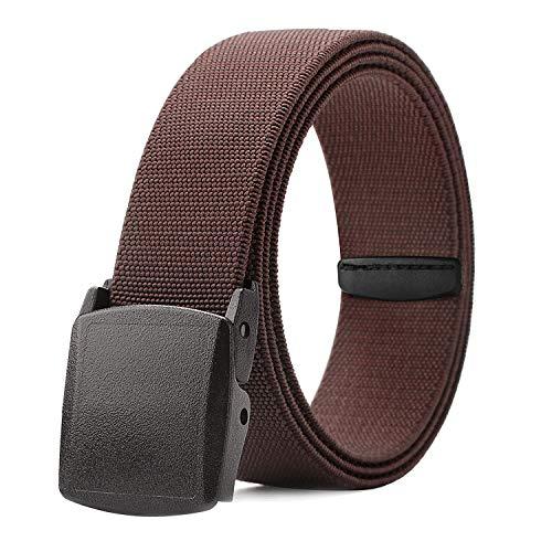 Men Elastic Stretch Web Belt Casual Jeans Waist Belt Adjustable Plastic Buckle Outdoor Belt 44 Inch (5 Brown, Fit Pant ()