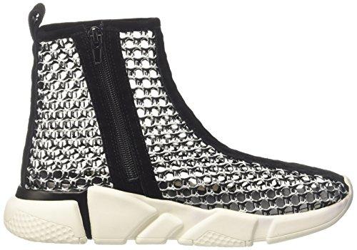 Jeffrey Campbell 37jc044 Weave Sock, Sneaker a Collo Alto Donna Multicolore (Blackwhite/White Sole)