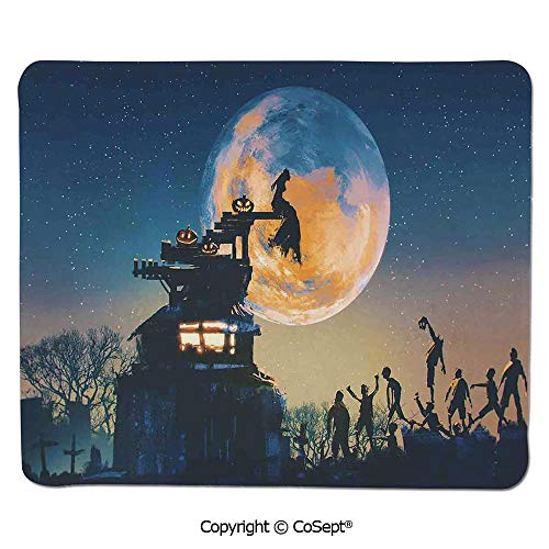 Premium-Textured Mouse pad,Dead Queen in Castle Zombies in Cemetery Love Affair Bridal Halloween Theme,Water-Resistant,Non-Slip Base,Ideal for Gaming (11.81