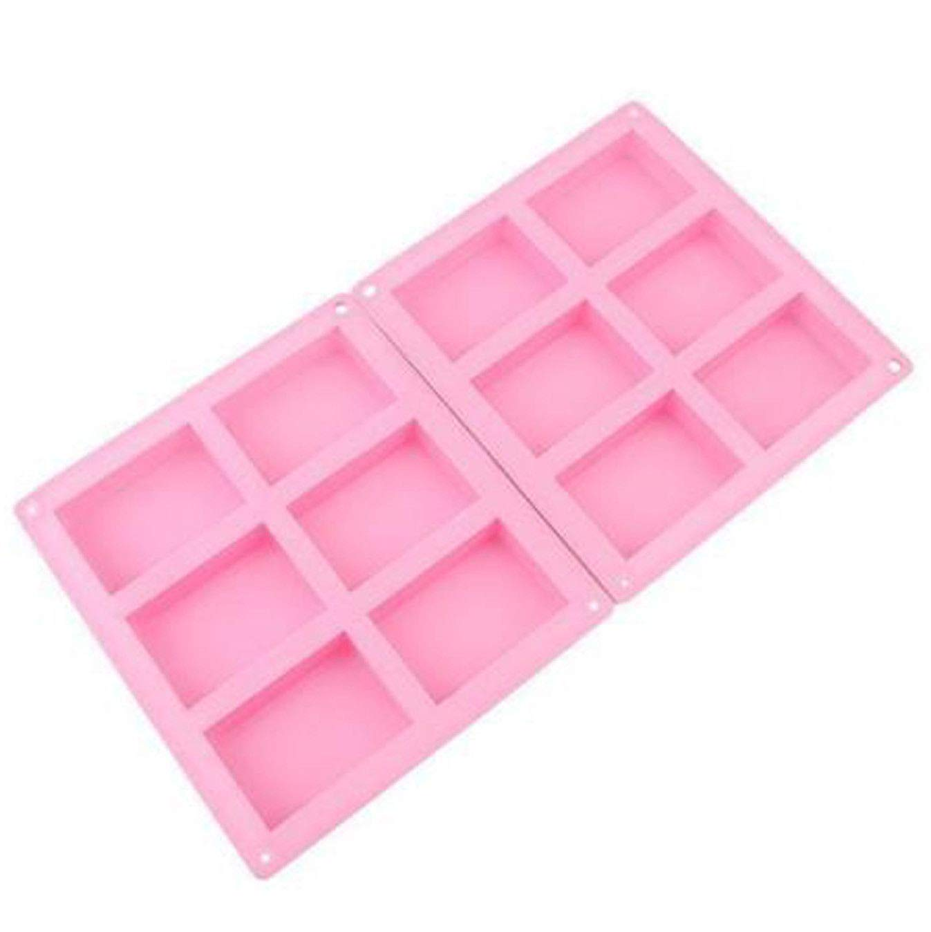 Silicone Rectangle Soap Making Molds 2 Packs,Baking DIY Mold for Chocolate,Candle Making and Polymer Clay,Easy to Clean