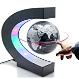 Zinnor C shape Decoration Magnetic Levitation Floating Globe World Map with Colored LED Light Anti Gravity Globe for Children Gift