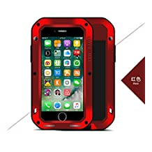 """Love Mei iPhone 7 Plus Case, Shockproof Dust / Dust / Snowproof Aluminum Gorilla Glass Heavy Duty Cover For Apple iPhone 7 Plus (5.5"""") (Red)"""