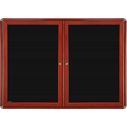 Ovation 2-Door Wood Look Felt Wall Mounted Letter Board, 3' H x 5' W Color: Chrome, Frame Finish: Cherry by Ghent (Image #1)