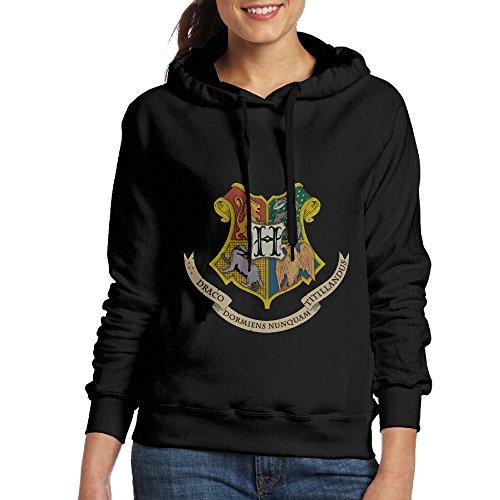 [Harry Potter Hogwarts Women Pullover Hooded Hoodie Sweatshirt Black] (Hermione Granger Costume Casual)