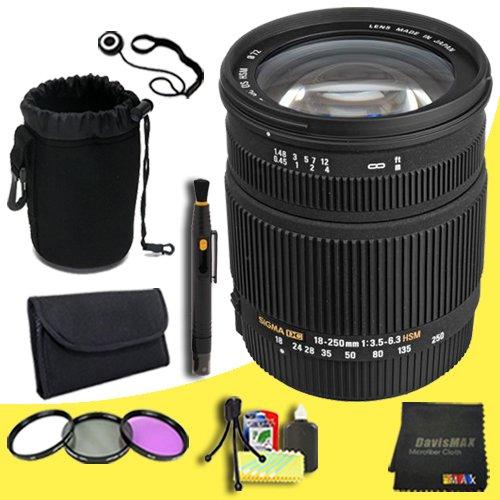 Sigma 18 – 250 mm f / 3.5 – 6.3 DC OS HSM IFレンズキヤノンAFデジタルSLRカメラ+ 72 Mm 3 Pieceフィルタキット+レンズキャップキーパー+デラックスレンズポーチ+レンズペンクリーナー+ DavisMAXマイクロファイバー布+デラックススターターキットDavisMAXバンドル   B00NI4CAF8