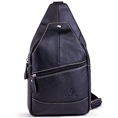 Genuine Leather Shoulder Sling Backpack Bag Unisex Outdoor Crossbody Sling Pack Sport Daypack - Black