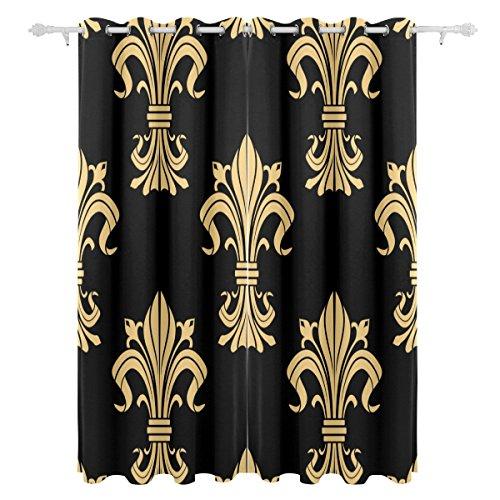 ALAZA Polyester Curtains Royal Victoria Medieval Fleur De Lis Blackout Curtains for Bedroom 84 Inches Length for Living Room 2 Panels Block Out 80% Light Apartment Decor Fleur De Lis Blocks