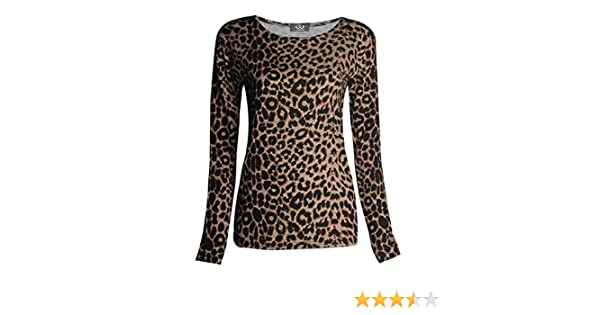 9dfff96aeaa Amazon.com  FashionMark Womens Long Sleeves Leopard Animal Print Stretchy  Top  Clothing