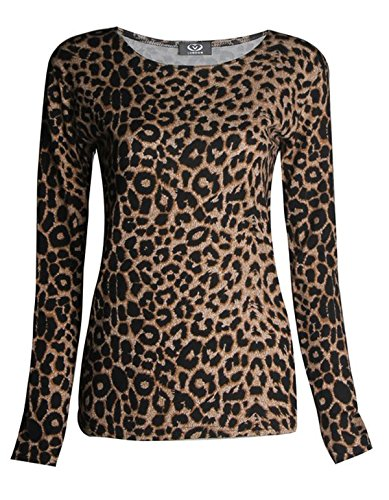 FashionMark Womens Long Sleeves Leopard Animal Print Stretchy Top