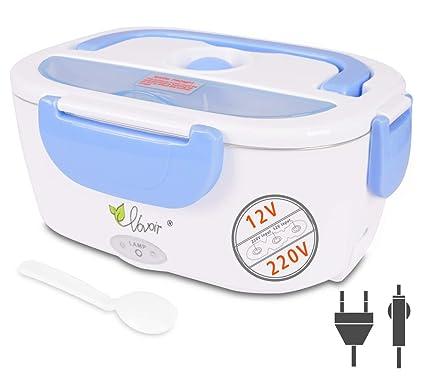 Fiambrera eléctrica comida térmico Lunch Box Fiambreras bento Uso en coche eléctrica con Bandeja extraíble acero inoxidable Recipiente de comida ...