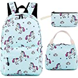 School Backpack for Girls Teens Bookbag Cute School Bag Set with Lunch Box Pencil Case for Kids (Light Blue)