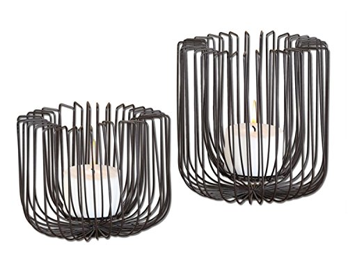 Set of 2 Matte Black Modern Industrial Flare Wire Pillar Candle Holders 6
