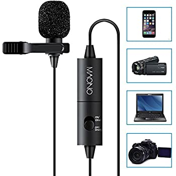 MAONO Lavalier Microphone, Hands Free Clip-on Lapel Mic with Omnidirectional Condenser for DSLR,Camera,iPhone,Android,Samsung,Sony,PC,Laptop (236 in)