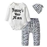 new men clothing - 3Pcs Newborn Baby Boys Clothes Mommy's New Man Long Sleeve Romper Moustache Pants Hat Outfits Set (0-6 Months)