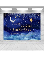Imirell Night Sky Stars Backdrop 7Wx5H Feet Blue Twinkle Twinkle Little Star Moon Baby Shower Birthday Photography Backgrounds Photo Shoot Decor Props