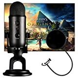 Blue Microphones Blackout Yeti with Assassin's Creed Origins Digital PC Version Plus Pop Filter Bundle
