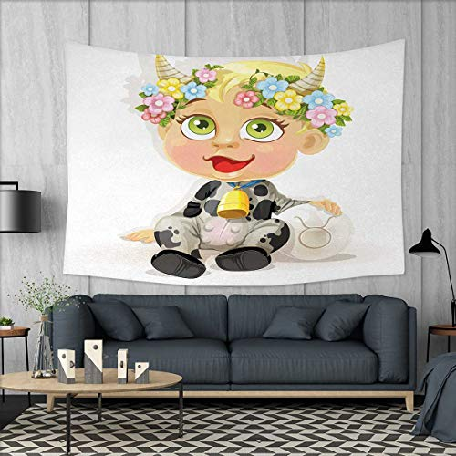 Anniutwo Zodiac Taurus Art Wall Decor Happy Baby with Little Horns and Flowers Cow Bell and Costume Kids Cartoon Tapestry Wall Tapestry W60 x L51 (inch) Multicolor