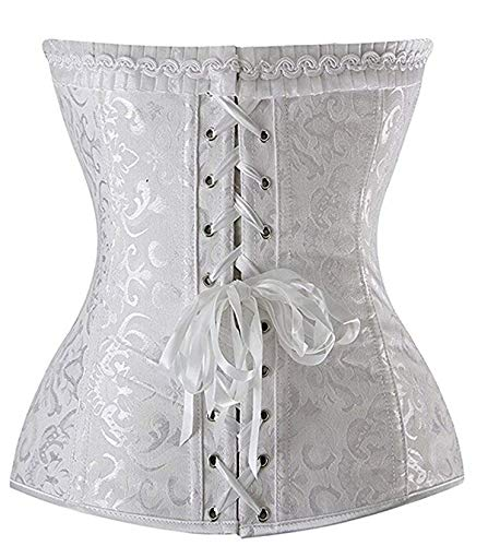 Sexy Women's Floral Lace Overlay Trim Satin Overbust Corset Top Plus Size,2X-Large / FitNaturalWaist33-34