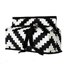 Black and White Striped Wavy Geometric Tissue Box Fabric Tissue Box-A