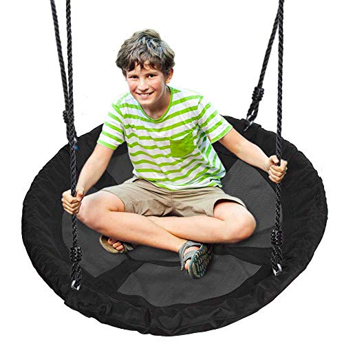 Outdoor Spinner Saucer Tree Swing - Hanging Tree Round Circular Flying Saucer in Rope Straps w/Cushion Padded Metal Frame, Polyester Fabric Seat, Great for Kids, Adult - SereneLife SLSWNG100 (Black) (Nest Chair Round)