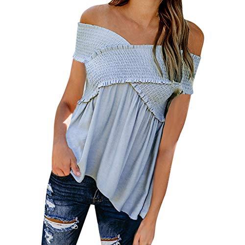 GREFER-Women Spaghetti Strap Tops - Sexy Cold Shoulder Flowy Tees T Shirts - Work Blouses for Women Fashion 2019 Blue
