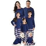 PajamaGram Family Christmas Pajamas Set - Plaid Matching Pajamas, Blue, Kids, 6
