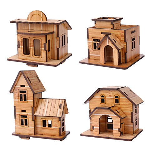 ZOSEN 3D Wooden Puzzle - Mini House Model - EducationalToys 3D Puzzle Gift for Children (4 pieces)