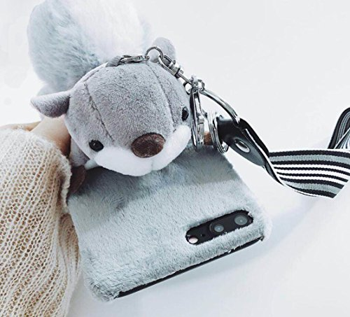 - for iPhone6 / iPhone6s Case, Omio Fur 3D Cute Squirrel Toy Soft Furry Tail Ball Cover Wrist Strap Keychain Key Ring Fluffy Plush Hairy Kickstand Stand Thin Slim Shell for Apple iPhone 6 / iPhone 6s