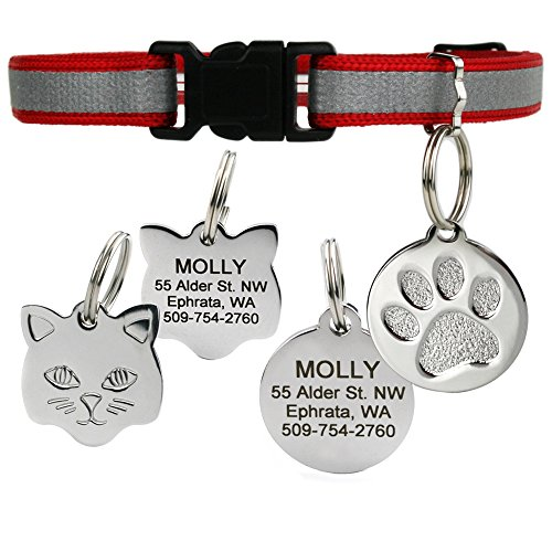 Reflective Cat Collar w/Personalized Stainless-Steel Pet ID Tag. Breakaway Cat Collar Available in Assorted Colors. Cat ID Tag Comes w/ 4 Lines of Engraved Text. (Red)