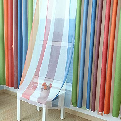 Amazon Com Aifish 2 Panels Colorful Wide Striped Sheer Curtains