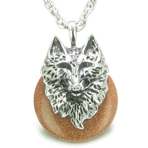 Amulet Wolf Head Courage Protection Powers Lucky Donut Goldstone Pendant 22 Inch Necklace