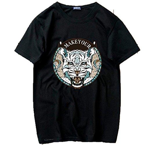 治世非公式ニコチンCAIXINGYI短い袖のTシャツ男の円襟のゆるやかな半袖の夏の青年の加肥は高めのトレンド紳士の半袖 (XL, ブラック)