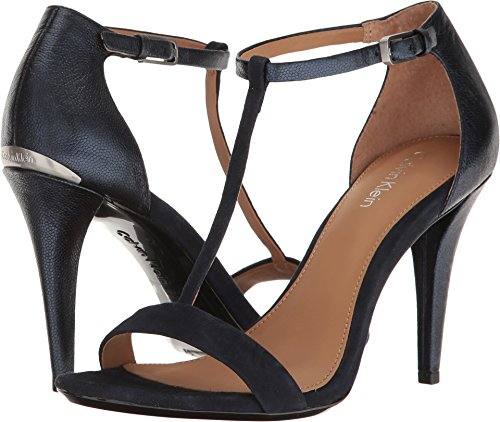 Calvin Klein Women's Nasi Heeled Sandal, Navy, 9 Medium US by Calvin Klein
