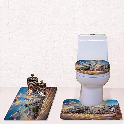 (Print 3 Pieces Bathroom Rug Set Contour Mat Toilet Seat Cover,View of the Streets Modern Madrid With Sky Landscape Big Old Town Heritage Deco with Multi,decorate bathroom,entrance door,kitchen,bedroo)