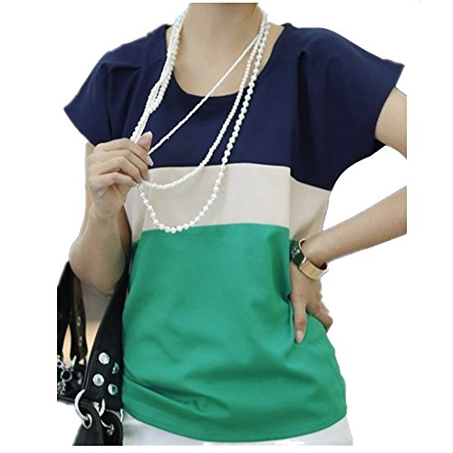 Eastabile Women Summer Stripe Chiffon T-Shirt Short Sleeve C