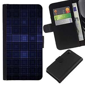 KingStore / Leather Etui en cuir / Sony Xperia Z3 D6603 / Dark Blue Modern Wallpaper cuadros Square