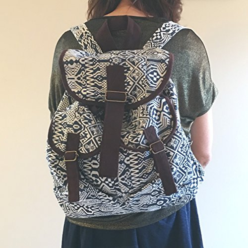 Canvas Backpack for Women & Girls Boys Casual Book Bag Sports Daypack (Bke Leather Belt)