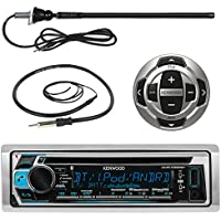 Kenwood Marine Boat Yacht Stereo Receiver Bundle Combo With KCARC35MR Wired Remote Control + Enrock Water Resistant 22 Radio Antenna + Outdoor Rubber Mast 45 Antenna