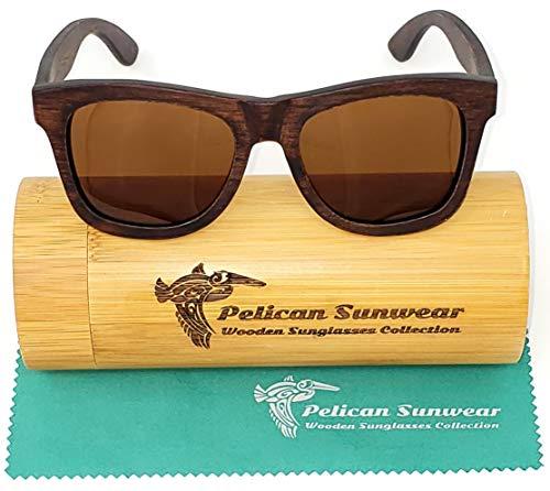 Wood Sunglasses | Polarized | Vintage Wooden Frame | UV Protection | Bamboo Case