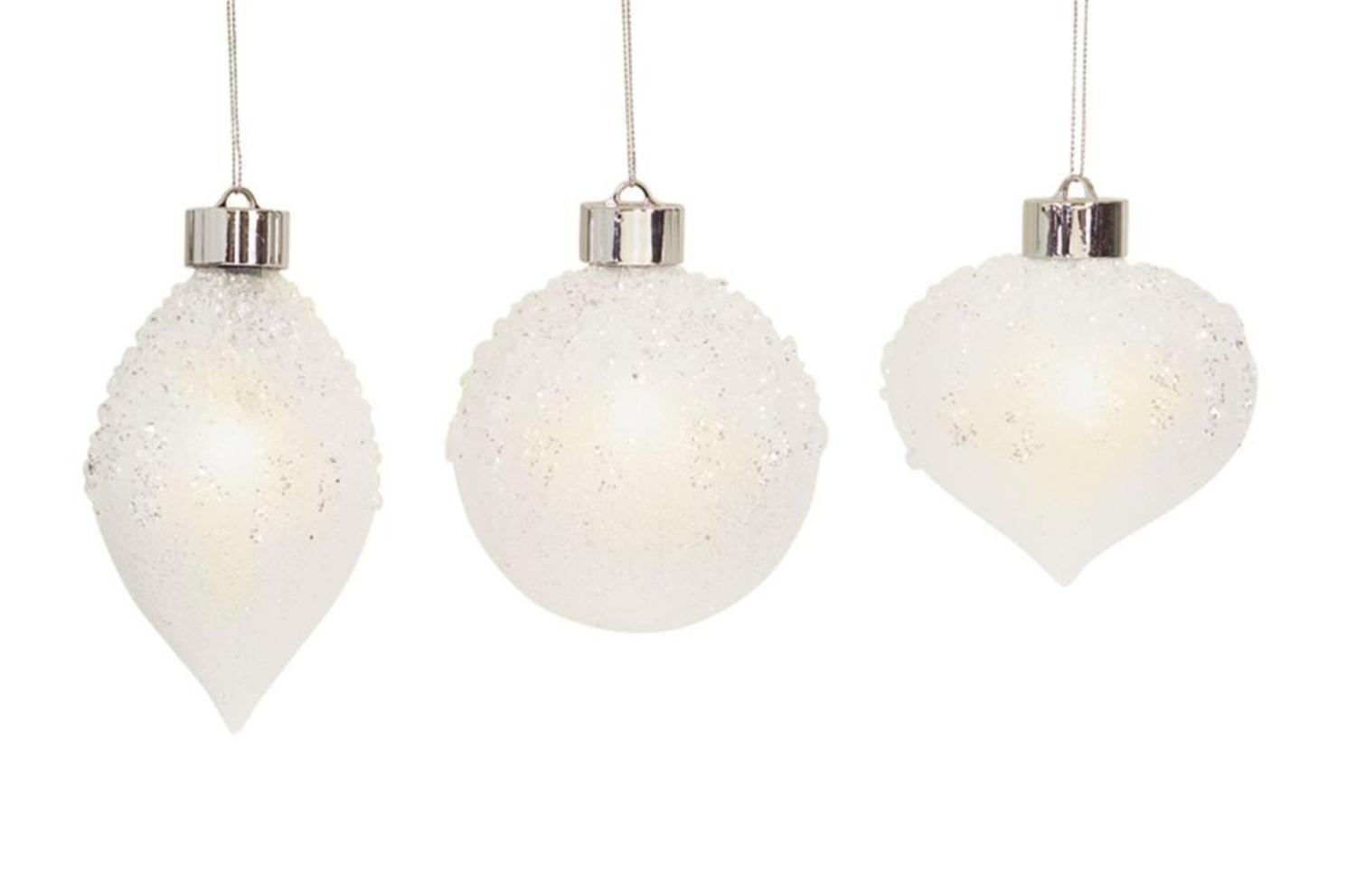 Pack of 6 Unique and Classy LED Iced Christmas Glass Ornament with Remote 5.25''
