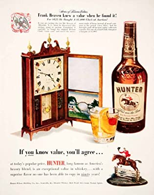 1950 Ad Hunter Wilson Distilling Whiskey Louisville Kentucky Clock Horse Jockey - Original Print Ad
