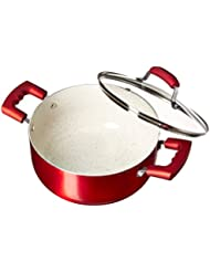 IMUSA USA IMU-25074 4.9Qt Ruby Red Nonstick Dutch Oven with Glass Lid and Soft Touch Handles