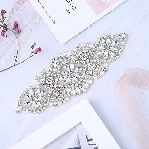 XINFANGXIU Rhinestone Bridal Wedding Garters Headpieces Applique Patch with Crystals Beaded Jeweled Sequin Diamond Embellishments for Bridesmaid Gown Dress Sash Belt