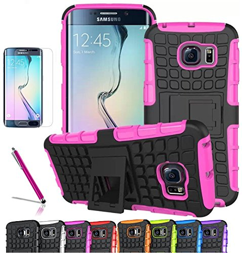 Galaxy S6 edge Case, CINEYO(TM) heavy Duty Rugged Dual Layer Case with kickstand (Samsung Galaxy S6 edge case Black) (Hot Pink)